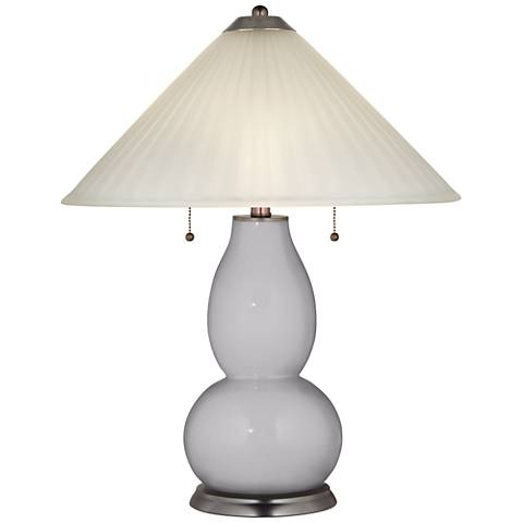 Swanky Gray Fulton Table Lamp with Fluted Glass Shade