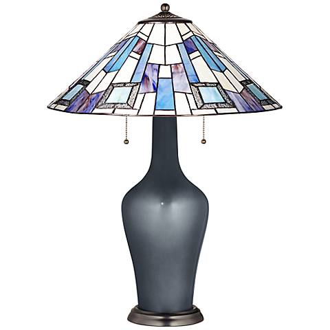 Clara Table Lamp in Gunmetal Metallic with Geo Blue Shade