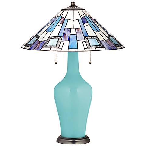 Clara Table Lamp in Nautilus with Geo Blue Shade