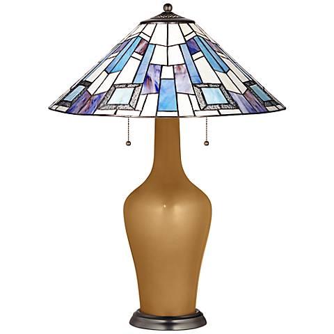 Clara Lamp in Light Bronze Metallic with Geo Blue Shade