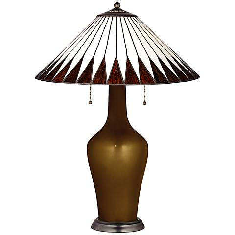 Clara Lamp in Bronze Metallic with Feather Shade
