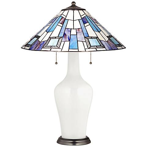 Clara Table Lamp in Winter White with Geo Blue Shade