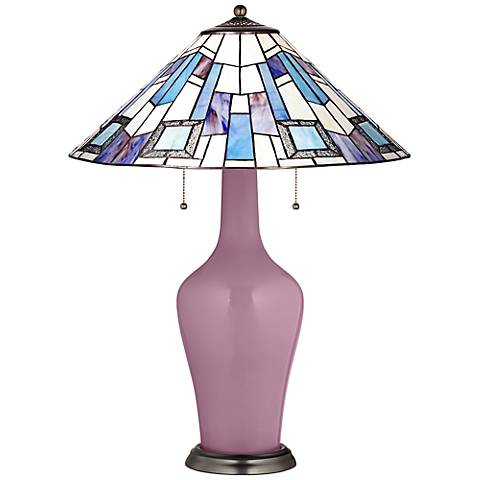 Clara Table Lamp in Plum Dandy with Geo Blue Shade