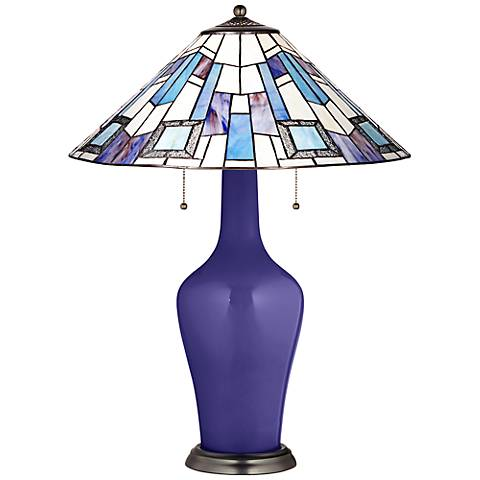 Clara Table Lamp in Valiant Violet with Geo Blue Shade