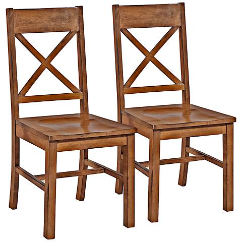 Millwright Antique Brown Wood Dining Chair Set of 2