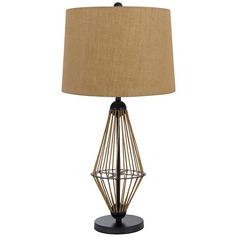 monticello rope table lamp 6c192 lamps plus. Black Bedroom Furniture Sets. Home Design Ideas