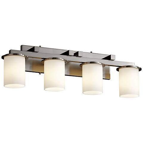 "Justice Design Dakota 29"" Wide Nickel 4-Light Bathroom Light"