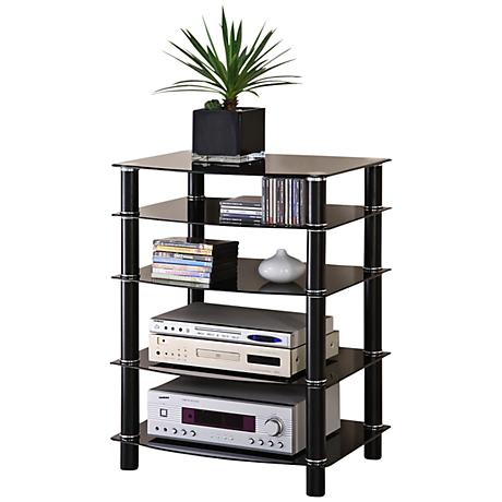 Everest Black 5-Tier Steel Component Stand