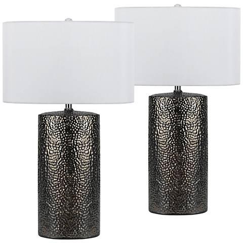 Bravo Nickel Ceramic Table Lamp Set of 2
