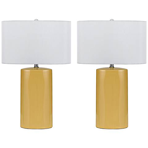 Minorca Pastel Yellow Ceramic Table Lamp Set of 2