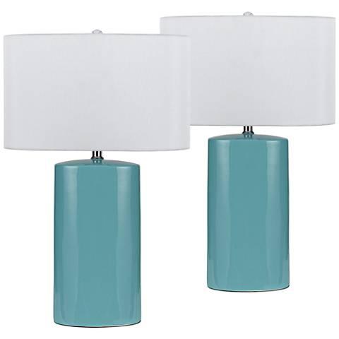 Minorca Aqua Blue Ceramic Table Lamp Set of 2