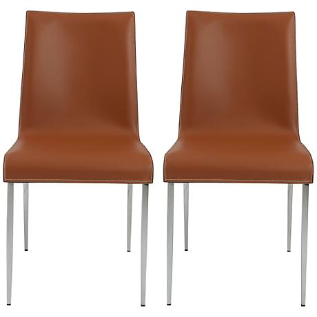 Cam Cognac Bonded Leather Side Chair Set of 2