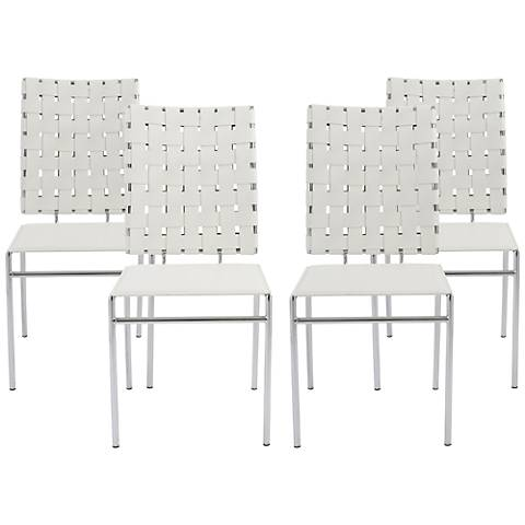 Carina White Bonded Leather Side Chair Set of 4