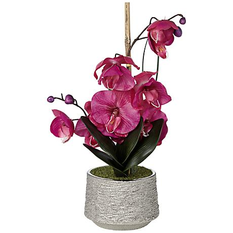 "Purple 21"" High Faux Orchid in Silver Pot"