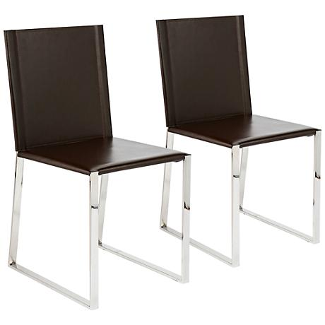 Cora Dark Brown Bonded Leather Side Chair Set of 2