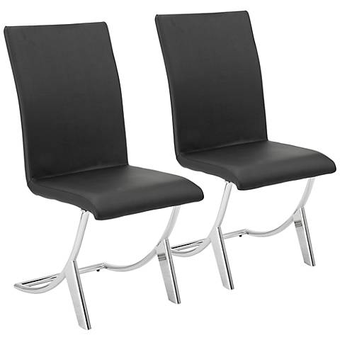 Cordelia Black Faux Leather Side Chair Set of 2