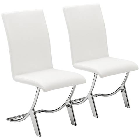 Cordelia White Faux Leather Side Chair Set of 2