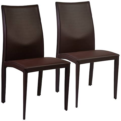 Dafney Brown Bonded Leather Side Chair Set of 2