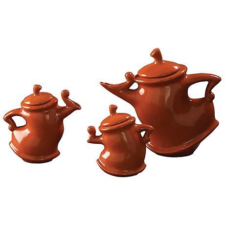 "Howard Elliott 3-Piece Russet Whimsical 11"" Wide Tea Pot Set"