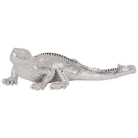 """Howard Elliott Nickel Lizard 7"""" Wide Figurine"""