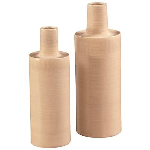 """Howard Elliott 2-Piece Cream 16"""" High Ceramic Vase Set"""