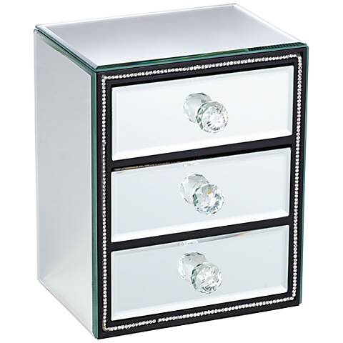 Leeza 3-Drawer Mirrored Jewelry Box