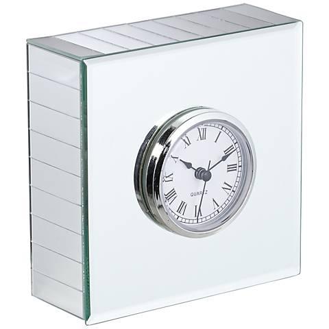 Hugo Mirrored Square Desk Clock