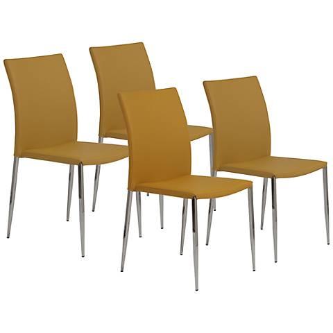 Diana Saffron Faux Leather Side Chair Set of 4