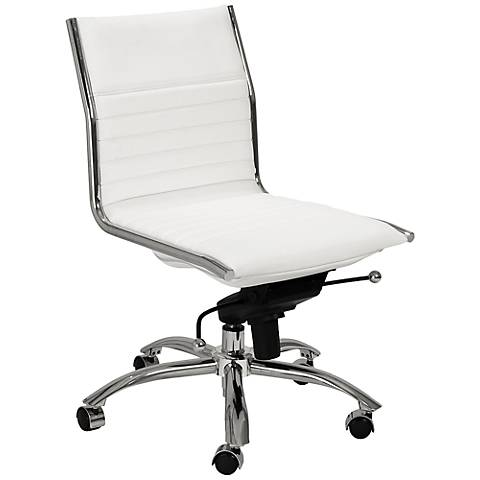 Kirk Low Back Armless White Office Chair