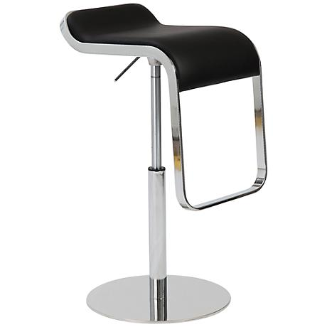 Freddy Adjustable Black Faux Leather Bar or Counter Stool