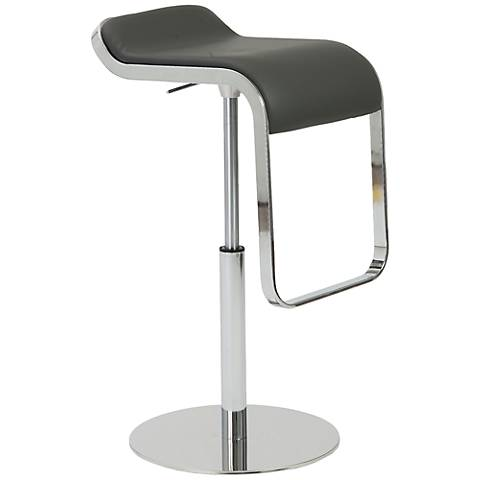 Freddy Adjustable Gray Faux Leather Bar or Counter Stool