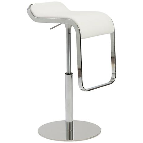 Freddy Adjustable White Faux Leather Bar or Counter Stool