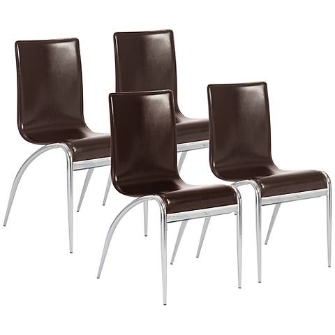 Grace Brown Bonded Leather Side Chair Set of 4