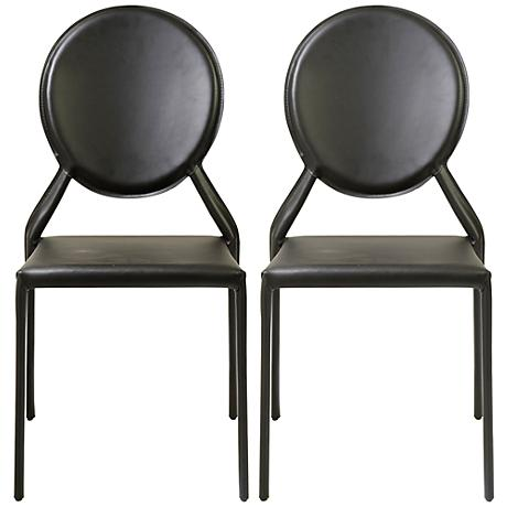 Isabella Black Bonded Leather Side Chair Set of 2