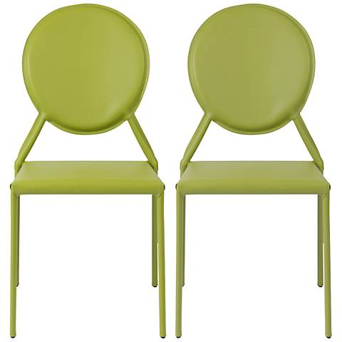 Isabella Green Bonded Leather Side Chair Set of 2