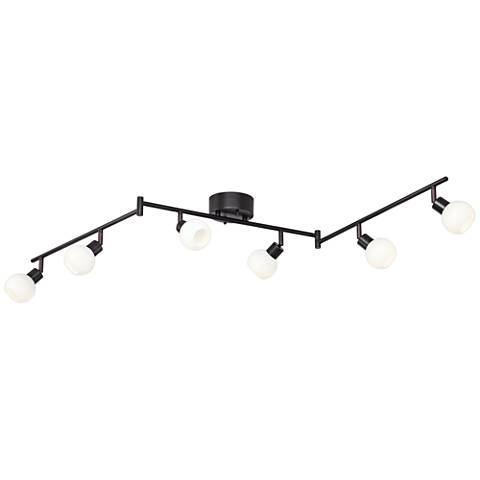 pro track globe bronze 6 light led track fixture 6c908 lamps plus. Black Bedroom Furniture Sets. Home Design Ideas