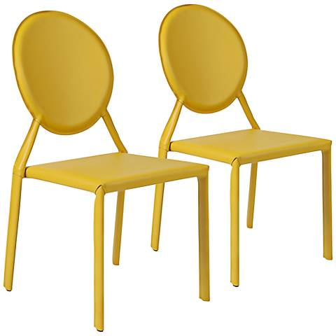 Isabella Yellow Bonded Leather Side Chair Set of 2