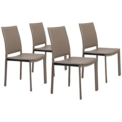 Kate Taupe Faux Leather Side Chair Set of 4
