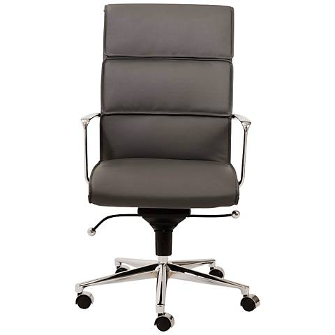 Leif High Back Gray Faux Leather Office Chair