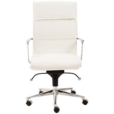 Leif High Back White Faux Leather Office Chair