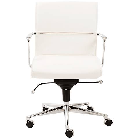 Leif Low Back White Faux Leather Office Chair