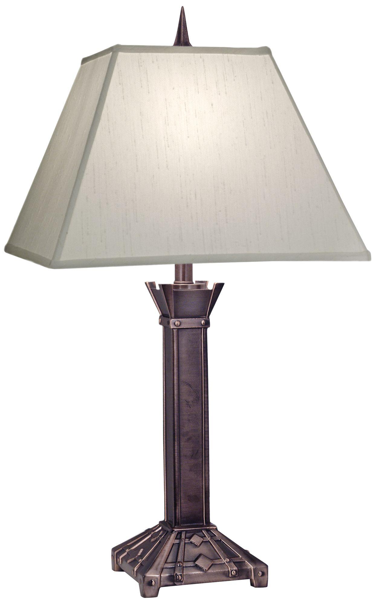 Stiffel Antique Copper Square Shade Table Lamp