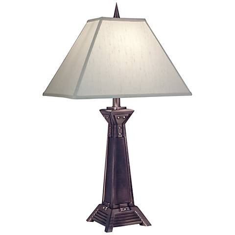 Stiffel Antique Copper Global White Table Lamp