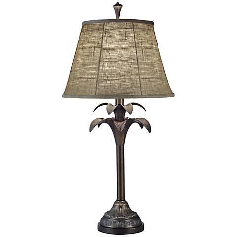 Stiffel Natural Burlap Bombay Bronze Table Lamp