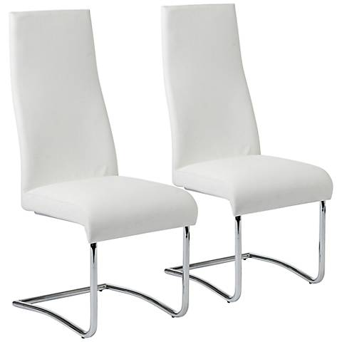 Rooney White Faux Leather High Back Side Chair Set of 2