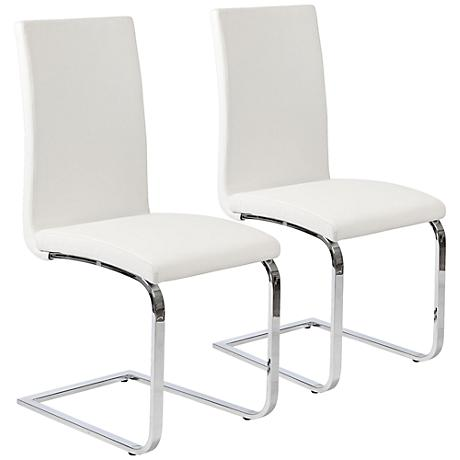 Santos White Faux Leather Side Chair Set of 2