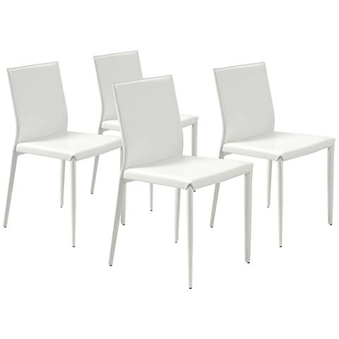 Shen White Bonded Leather Side Chair Set of 4