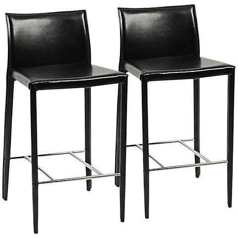 "Shen Black Bonded Leather 26"" Counter Chair Set of 2"