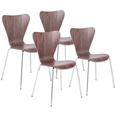 Tendy Walnut Laminated Wood Side Chair Set of 4