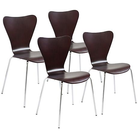 Tendy Wenge Laminated Wood Side Chair Set of 4
